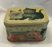 Vintage Cats By Cara Tin Metal Box Bristol Ware Hong Kong Small