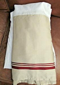 "CHARTER CLUB KING TAN Cotton Sateen BEDSKIRT RED STRIPES AT HEM 15"" Drop New"