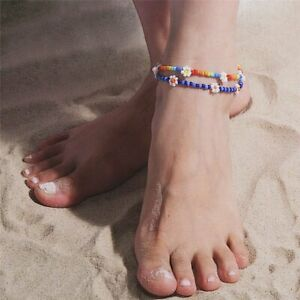 Boho Bohemian Daisy Colorful Glass Seed Bead Anklet Flower Beach Women Summer