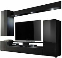 High Gloss TV Stand Wall Unit Living Room Furniture Set Black Entertainment