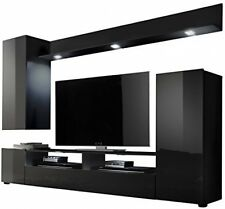 High Gloss TV Stand Wall Unit Living Room Furniture Set Black Entertainment