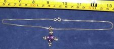 ANTIQUE SILVER  AMETHYST / PEARL PENDANT AND CHAIN