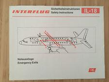 INTERFLUG AIRLINES IL18 SAFETY CARD 1987 VINTAGE