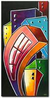 ORIGINAL Abstrakte Malerei Kunst Acryl Bild Gemälde Modern Art Stadt HANDGEMALT