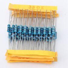 1100 Pcs 0.1 ohm~10M ohm 1/2W Metal Film Resistor 110 Value Box Kit