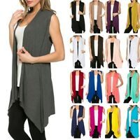 Women Open Cardigan Vest Tunic Top Shawl Collar Draped Sleeveless S M L XL USA