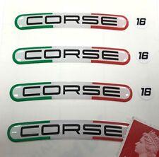 """4 CORSE Rim Stickers (Italian Colours) Fit 16"""" Wheels Super Shiny Domed Finish"""