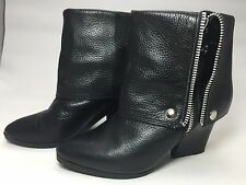 MICHAEL Michael Kors FOLD OVER Bootie Black Leather Ankle Boot Size 6M
