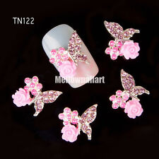 10pcs 3D Butterfly Nail Art Decoration Alloy Jewelry Glitter Rhinestone #CA056