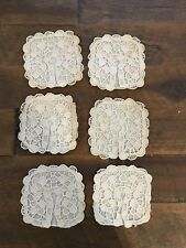 Vtg Set of 6 Hand Made Ivory Lace Wine Glass Cozies Covers Coasters #9