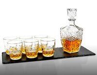 7 Pc Bormioli Rocco Whisky Decanter & Whiskey Tumblers Glasses Gift Box Set NEW