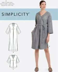 S9139 Sewing Pattern  Misses' Relaxed V-Neck Dresses Caftan Tunic Sizes XXS-XXL