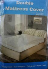 NEW DOUBLE Vinyl Plastic Fitted Mattress Bed Cover Sheet Protector WATER PROOF