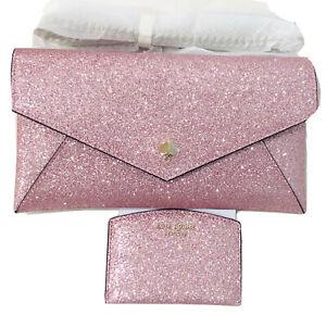 Kate Spade Burgess Court Rose Gold Pink Glitter Clutch Crossbody bag + card case