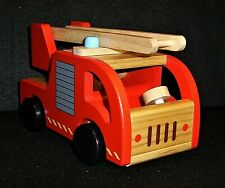 Fire engine with moveable ladder. Wooden toy