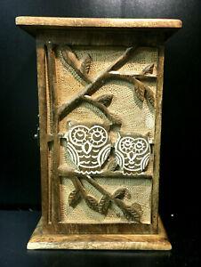 Charming wooden owl wall hanging fairtrdae key cabinet key press