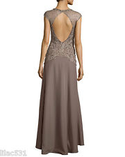 Sz 4 🌸 Sue Wong Nocturne Open Back Beaded Illusion Gown Wedding Bridal Taupe