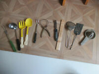 Vintage Lot of 10 Kitchen Tools Utensils Farmhouse Decor Primitive Ladle/Fork/