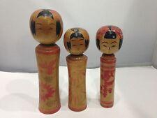Amazing Vintage Japanese Wooden Kokeshi 3dolls made in Japan K35