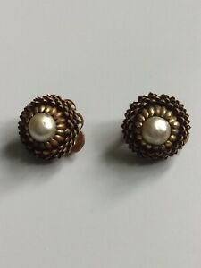 Vintage Miriam Haskell Signed Clip Earrings Acorn Setting Faux Baroque Pearl