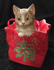 """'Cat Peeking out of Bag' Music Box """"Have Yourself a Merry Little Christmas�"""