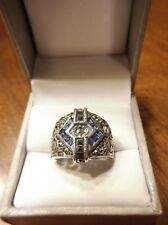 BLUE STONES & MARCASITE STERLING SILVER 925 LADIES VINTAGE RING BAND SIZE 7(518)