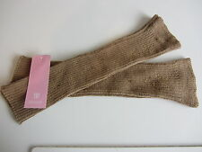 GORGEOUS BASLER CAMEL & COGNAC DIAMANTE ALPACA/WOOL BLEND FINGERLESS GLOVES BNWT