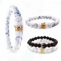 2 Pcs Bracelet for Men Women Stone Beads Alloy Crown Couple Bangles Jewelry Gift
