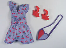 Barbie Fashionista Outfit Cherry Playsuit Doll Clothes Heart Purse Shoes Mattel