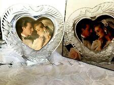 Heart Shape Crystal Glass Photo Frame w Vintage Look Filter Wedding Gift Decor