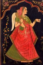Antique Hand Painted Wooden Box w PRINCESS FROM INDIA, Lotus
