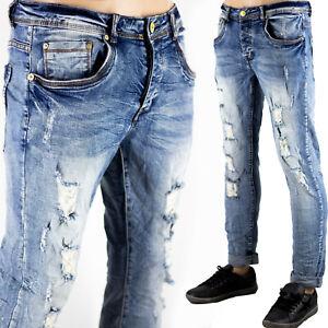 Pantaloni Slim Fit Jeans Morbido Strappi Gambe Elasticizzati Sfumato Blu Chiaro