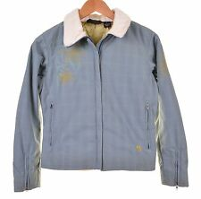 Mountain Hardware Womens Gray Blue Embroidered Faux Fur Snow Ski Coat Jacket XS
