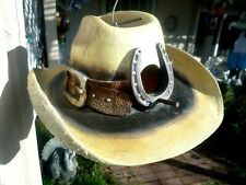 Western Cowboy Hat 'Horse Shoe' Bird House / Feeder - Resin construction 'New'