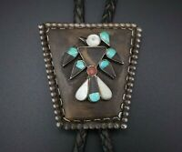 Vintage Zuni Coin Silver Inlay Turquoise Onyx MOP Thunderbird Bolo Tie M790