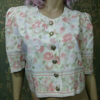 Vintage 80s Cropped Floral Top Button Front Blouse Puff Sleeves Boxy Size M/L