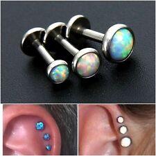 1x Opal Ear Labret Bezel set triple piercing forward helix tragus Cartilage Stud