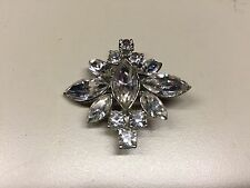 Old Vtg Rhinestone Decorative Star Floral Flower Design Brooch Pin Jewelry