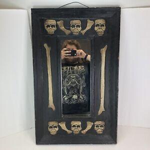 "Vintage Hanging Wall Mirror New Orleans Voodoo Skull And Bones 31""x19"""