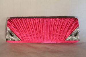 Beautiful Fuchsia Pink Evening Clutch Purse with Rhinestone Corners 030FU 119