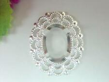 CABOCHON SETTING, SILVER-PLATED FILIGREE, 30x25, FITS 18X13mm CABOCHONS