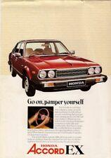 Honda Accord EX Saloon 1980-81 UK Market Leaflet Sales Brochure