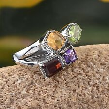 Garnet Hebei Peridot Citrine Amethyst Stainless Steel Ring Size 5 (3.44 tcw)(D)
