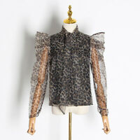 2019-20 Womens Designer Inspired Leopard Pattern Bubble Sleeves Shirt Top