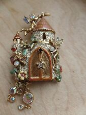 Kirks Folly Beautiful Castle With Fairies And Crystal Brooch/Pin
