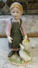 Vintage Homco Figurine 1415 Amish Farm Girl Duck Goose Porcelain Country