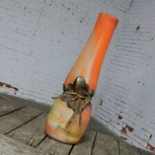 Monumental Filip Ravert Orange Blown Slag Glass Vase Cinched Waist Metal Wrap