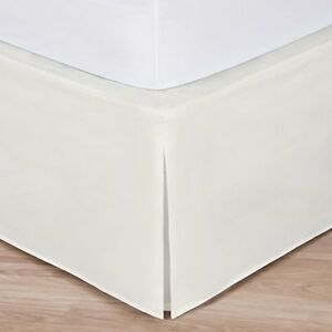 "Cal King Ivory Bed Skirt: Tailored Pleat, 14"" Drop"
