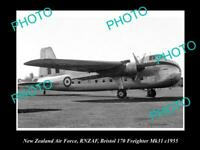 POSTCARD SIZE AVIATION PHOTO OF RNZAF NEW ZEALAND AIR FORCE BRISTOL 170 c1955