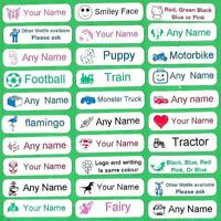 10 Printed Iron On Name Labels School Personalised Clothes Uniform Tags Care